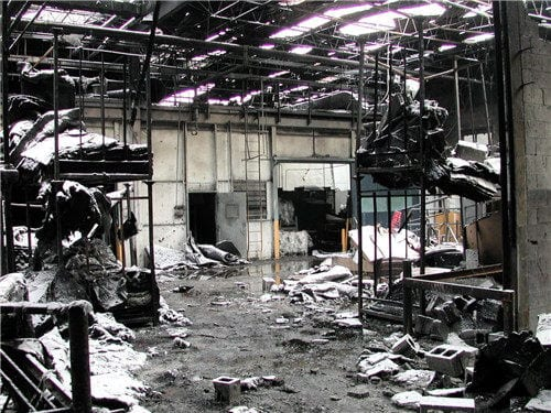 Aftermath of a combustible dust explosion at an acoustical tile plant.