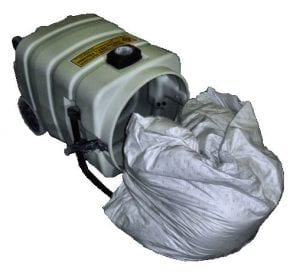 HD Clean Extreme Filter Bag removed from tank - holds 140lbs. of dry concrete dust - inside of the tank remains clean.