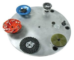 "18"" HD Alumimum Floor Plate - Accepts a wide variety of attachments including carbide scraping chips."