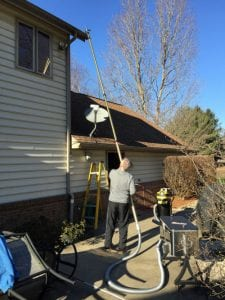 Typical Gutter Cleaning on a 2-story home.
