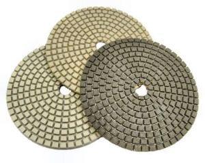 """Resin & Semi-Metal Polishing Pads, 3mm - 3"""", 4"""", 5"""", 7"""" Diameters."""