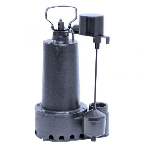 """Cast Iron 1/3 HP Effluent Pump, 7.6 Amp, 1-1/2"""" Discharge - handles 5/8"""" solids."""