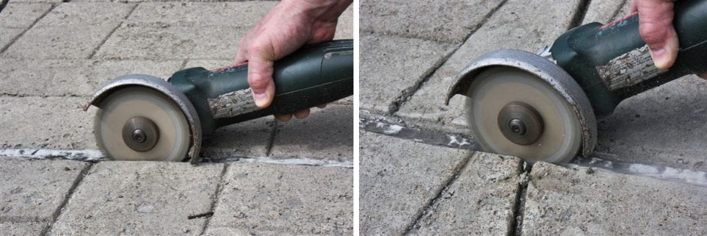 Safely and quickly removes the sealant along the joint's inside edge - without melting the sealant. | Cutter blade cutting deep into the joint.