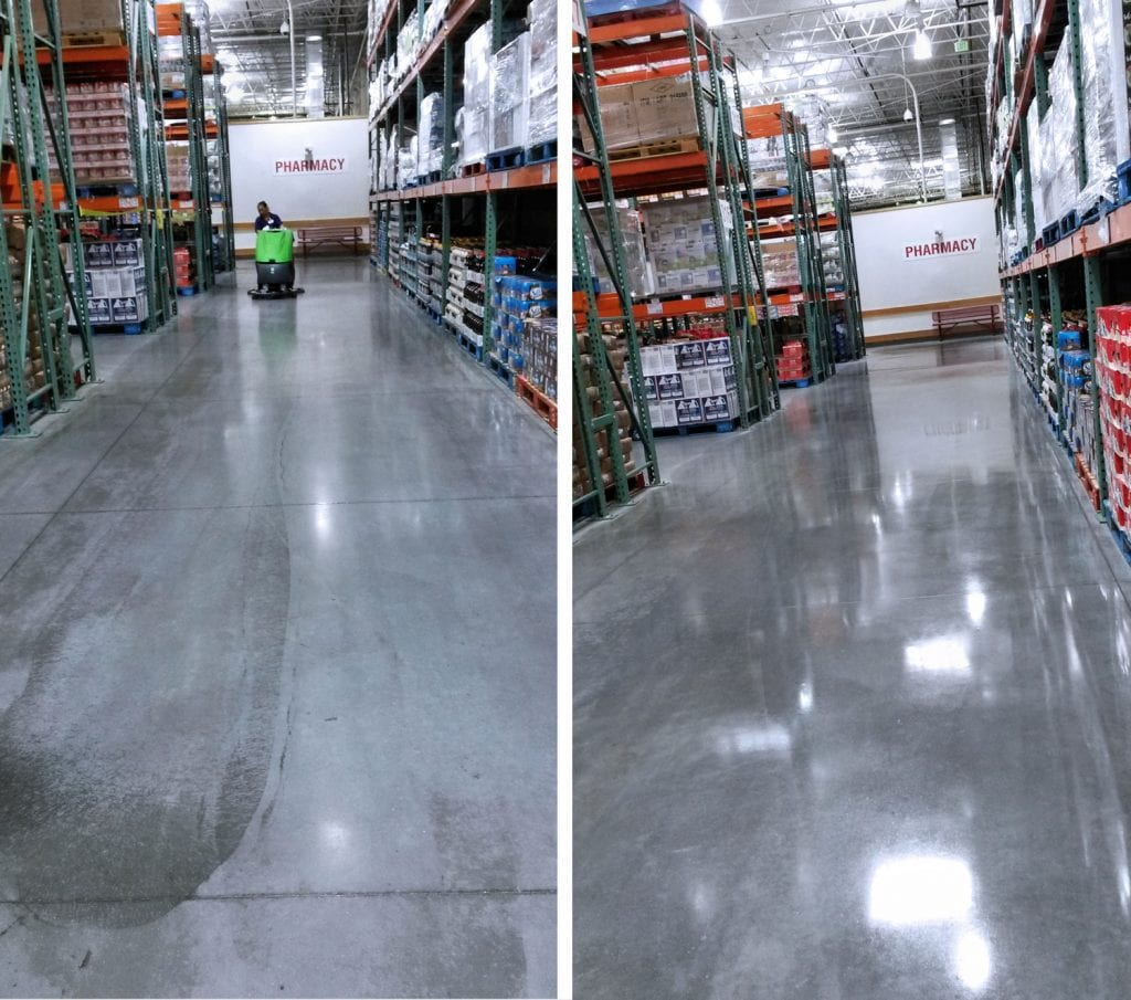 Concrete floor cleaning & polishing. Finished Results - Costco Store.