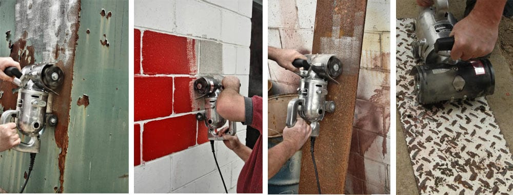 Paint removal from steel plate. Paint removal from block walls. Rust removal from steel plate. Paint removal from pebbled steel grading.